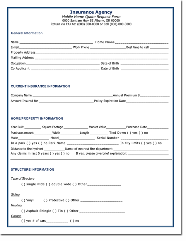 Home Insurance Quotation Form Template
