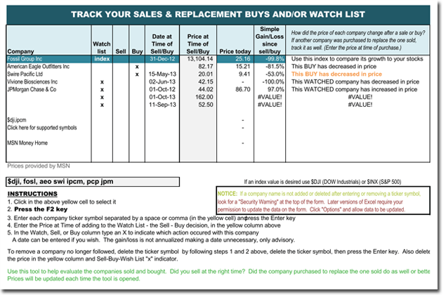 Stock Quotation Template for Excel