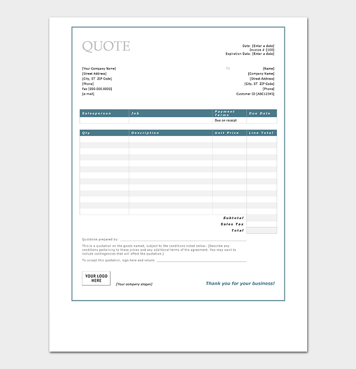 Quotation Templates – Download free Quotes for Word, Excel